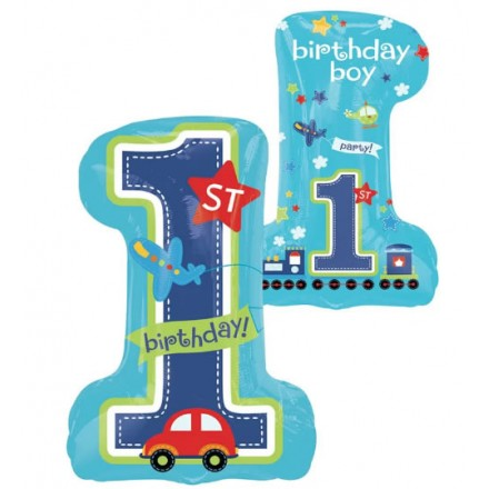 1st Birthday Boy SuperShape Foil Balloon