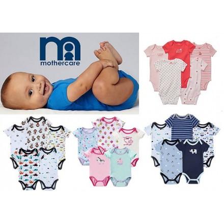 Mothercare 5 pure Soft Cotton Bodysuits- Short Sleeve (0-9mths)