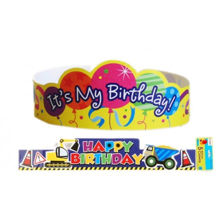 BIRTHDAY PAPER CROWNS- assorted designs- 5 per pack