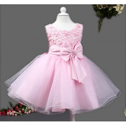 Eudora Bow Hand-beaded Pink Princess Dress- 18mths