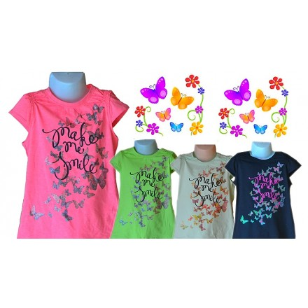 Butterfly Glitter Girls Tees- assorted colours- 5-9yrs