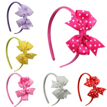 Girls Polka Dot Bow Head Alice Bands- Assorted colours