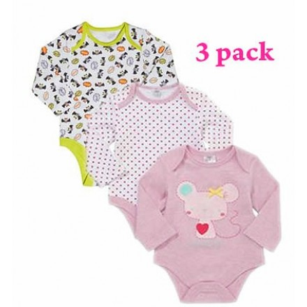 F&F baby Girls Long sleeve Bodysuits- 3 pack (18-24mths, 2-3years)