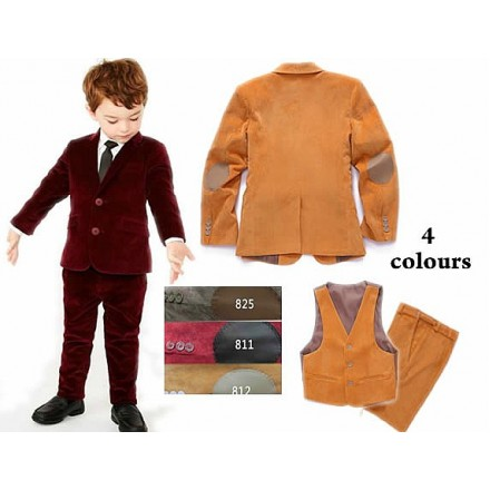 Boys' Corduroy 3pcs Formal set- Blazer, Waistcoat & Trousers (4-5yrs ,7-8yrs)- 2 colours( Brown, Grey)