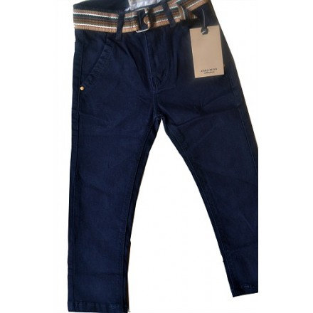 Zara Toddler boys Belted Chinos Straight Pants (2, 3yrs)- dark blue
