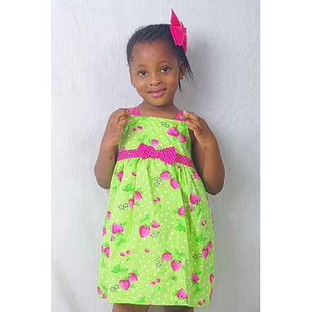 New Horizon Lime & Pink Cotton Dress- 3yrs