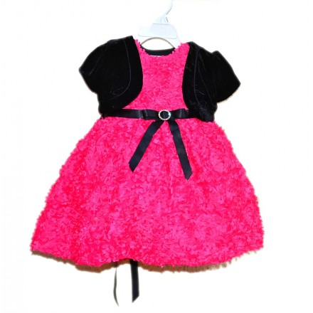 Bella by Marmellata Pink Petals Dress with Black Bolero (12mths, 18mts)
