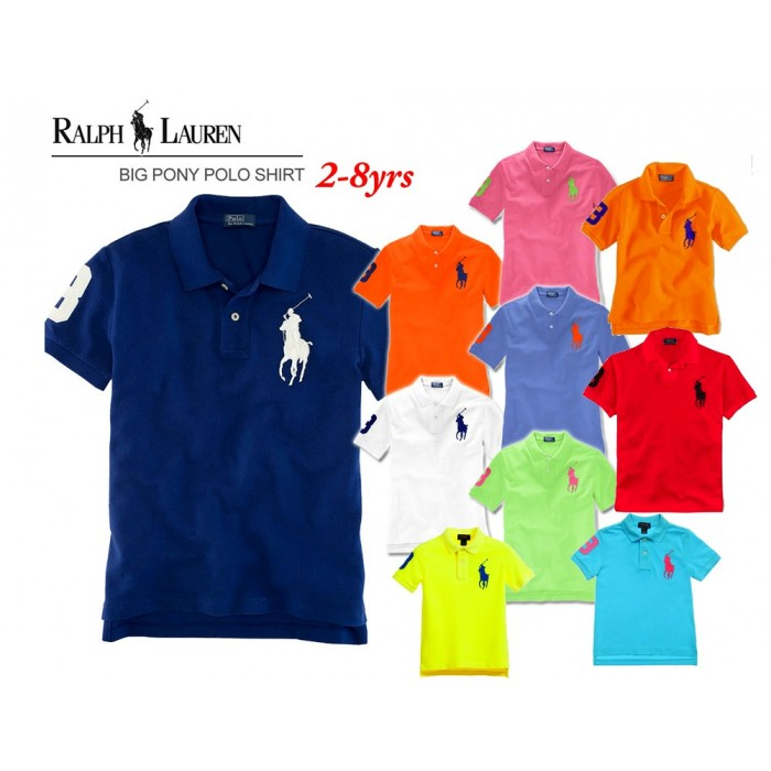 bf6ffb36 Ralph Lauren Big Pony Kids Polo T-Shirt- assorted colours (1-2yrs, 4 ...
