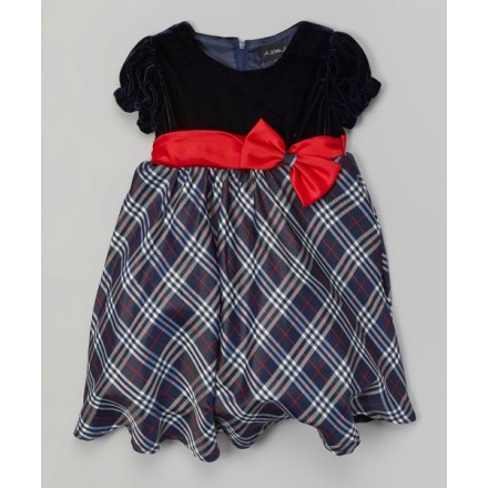 A Little Angel Navy & Purple Plaid Dress - 18mths