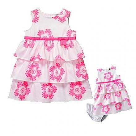 "Carter's Baby Girls ""Dress Me Up"" 2 Piece Pink/White Tiered Dress Set - 24 Mths"