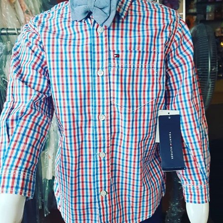 Tommy Hilfiger Boys Long Sleeve Shirt With Bow Tie