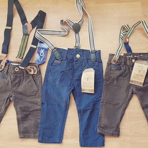 Next, Okaidi Boys Pants with Suspenders - 3-6mths, 6-9mths, 9-12mths, 12-18mths