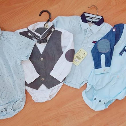 Baby Boys Executive Romper Shirts With Bow Tie -  6mths - 18mths
