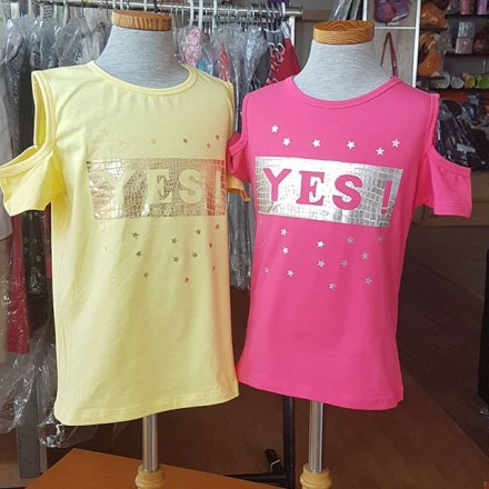'Yes' Girls Cold Shoulder Tops