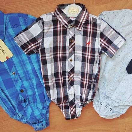 Baby Boys Short Sleeve Romper Shirts -  6mths - 24mths