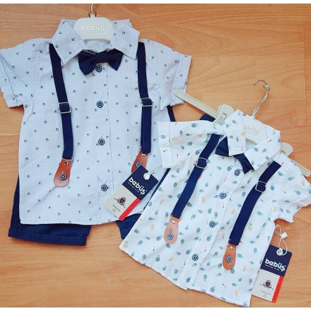 Bebus Boys Executive Outfit Shirt, Tie, Suspenders & Shorts - 6mths - 24mths