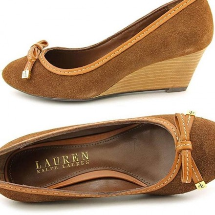 Lauren Ralph Lauren Women's Tan Bernee Suede Leather Wedge Pumps - Size - US 7