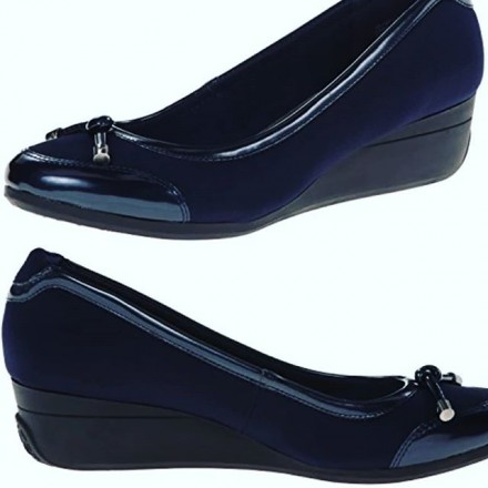 AK Anne Klein Sport Beyou Wedge Pump Navy  - Size - US 6 / Eur 38