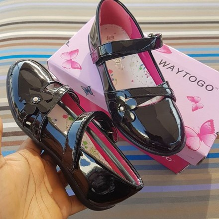 Way to go Patent Girls School Shoes  - Size 29