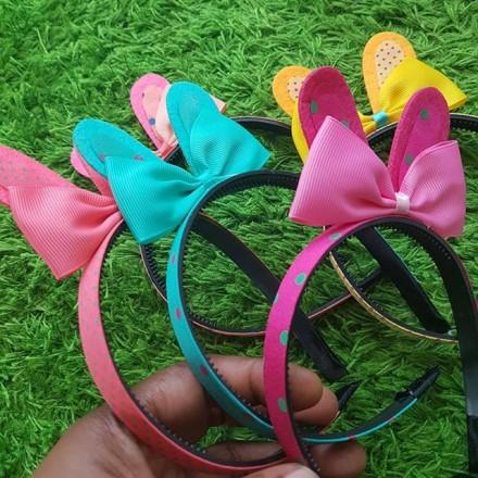 Girls Polka Dot Bunny Alice Band - Assorted colours