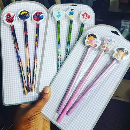 3pack Cartoon Wooden Pencils with Cartoon Eraser Toppers