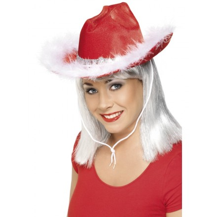 Christmas Cowboy Hat With Fluffy Rim- Adults