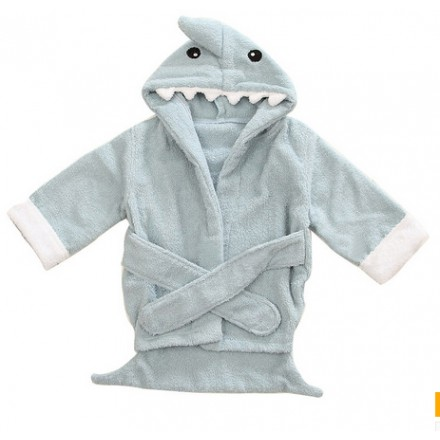 Baby Animal Bath Robe- Shark (0-2yrs)