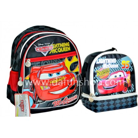 Disney Cars 13inches Backpack and Dual Compartment Lunch bag set