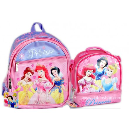 Disney Princess 13inches Backpack and Dual Compartment Lunch bag set