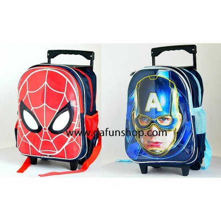 Boys 15inches 3d Trolley backpack- Captain America
