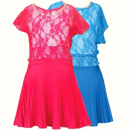 Alexandra Red Lace Overlay Top & Pleat Skirt Set - 6yrs