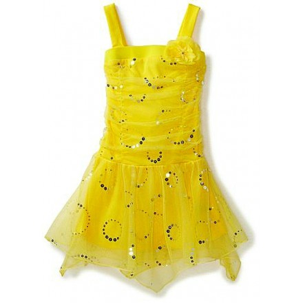 Amy Byer Girls Sequin Mesh Party Dress, Yellow- Size 14(10yrs+)