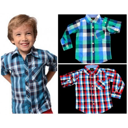 Baby Boys Long sleeve Plaid Shirt (12mths- 24mths)