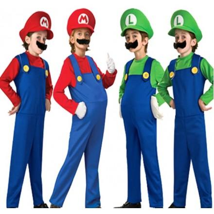 Mario & Luigi Fancy Dress Boys Costumes- 3-4yrs, 4-6yrs, 6-8yrs