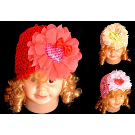 Baby Girl Flower & Sequin beanie Hats- 3 colours (0-12mths)