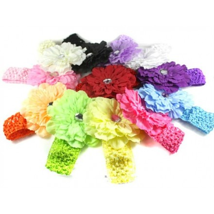 Diamante Flower Headbands- assorted