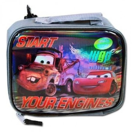 """Disney Cars """"Start Your Engines"""" Rectangle Lunch Bag with bag clip"""
