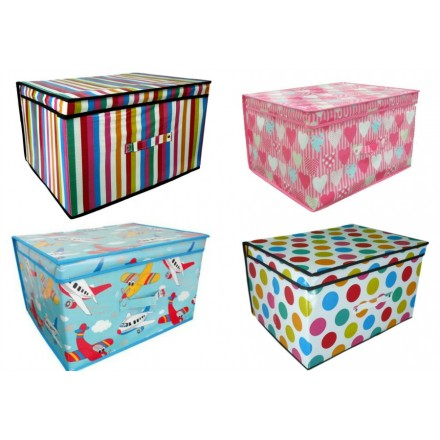 Jumbo Large Foldable Room Tidy Trunk With Lid - assorted designs