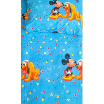 "Mickey Mouse ""Good Doggie"" Bedsheet & 2 pillows- 4ft x 6ft"