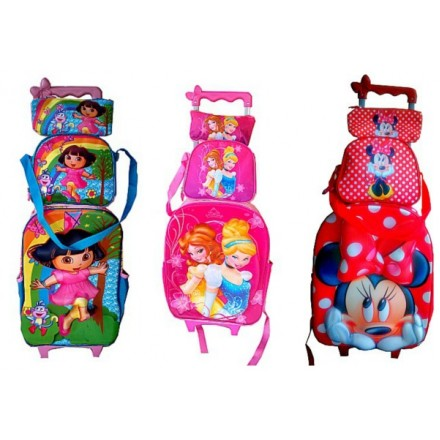 3D Eva Trolley Backpack 3PCS set- Trolley Backpack, Lunch bag and pencil bag
