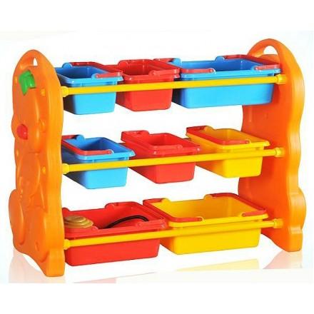 Kids 3 Tier Plastic Storage Organizer Shelf with 9 Bins