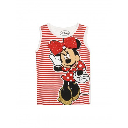 Kids Ville Girls Red & White Minnie Sleeveless Printed Top (2-5yrs)