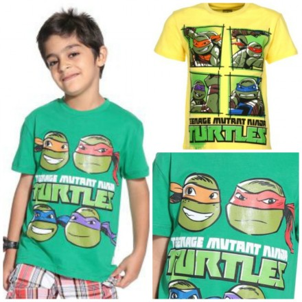 Kids Ville Boys Teenage Mutant Ninja Turtles Printed T-shirt- 2 designs- 7-10yrs
